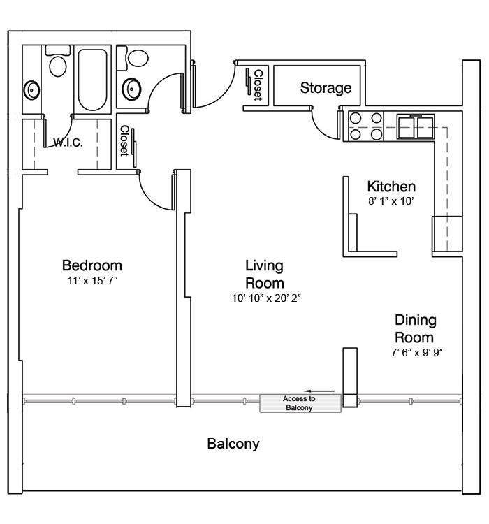 1 Bedroom Suite, Plan A